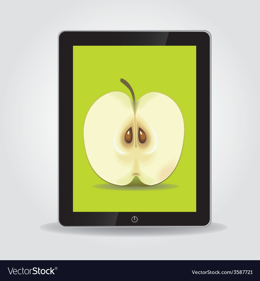 Apple on tablet pc screen vector | Price: 1 Credit (USD $1)