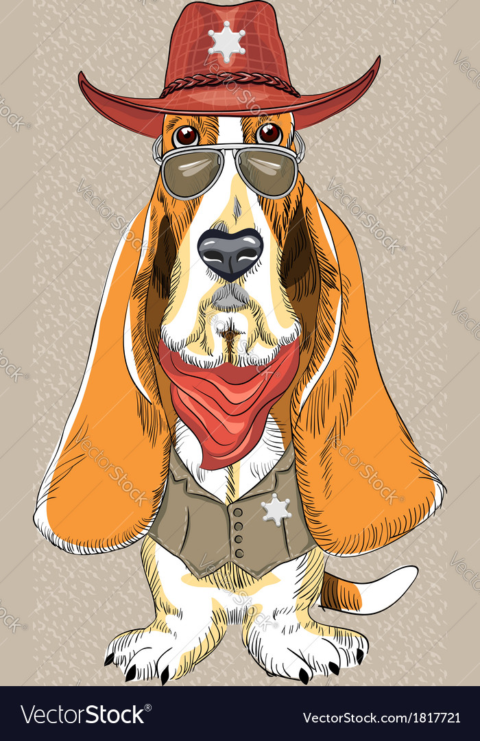 Basset hound breed clothing sheriff vector | Price: 3 Credit (USD $3)