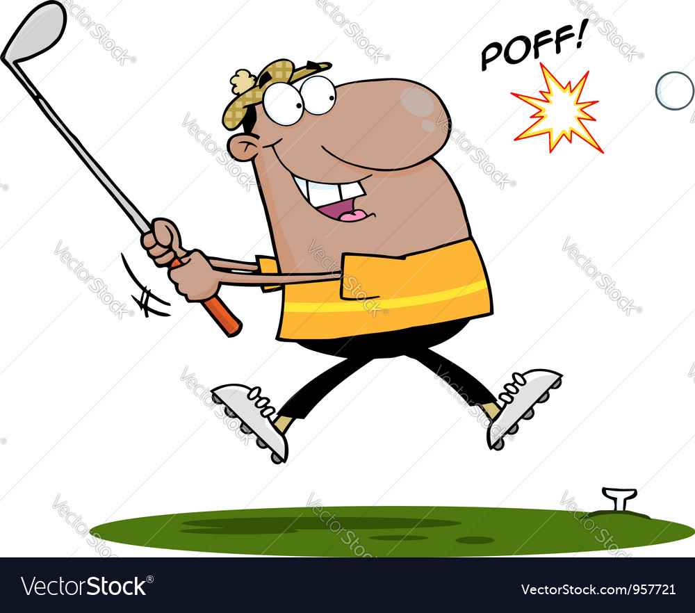 Black man swinging a golf club vector | Price: 1 Credit (USD $1)