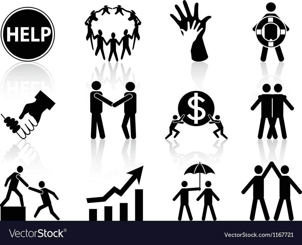 Business help icons vector | Price: 1 Credit (USD $1)