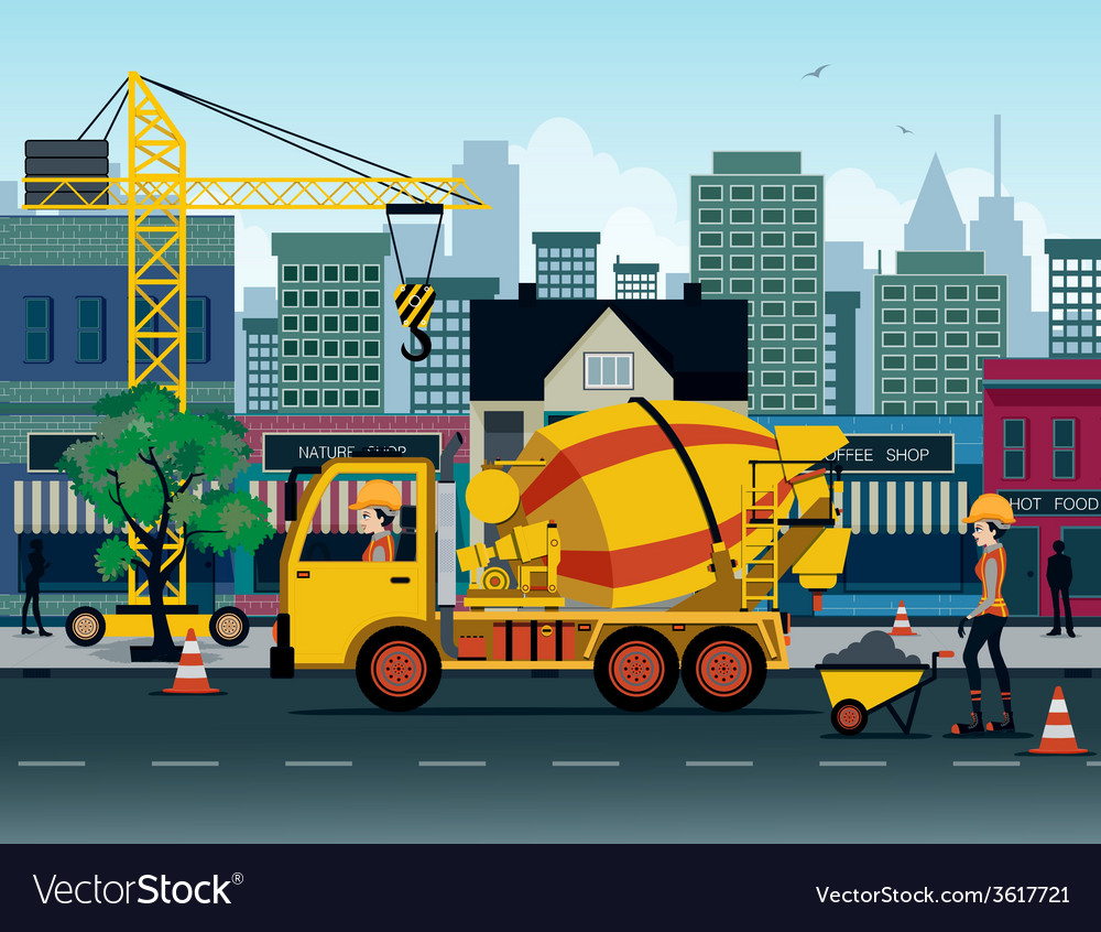 Cement truck vector | Price: 3 Credit (USD $3)