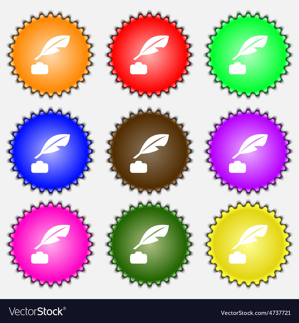 Feather retro pen icon sign a set of nine vector | Price: 1 Credit (USD $1)