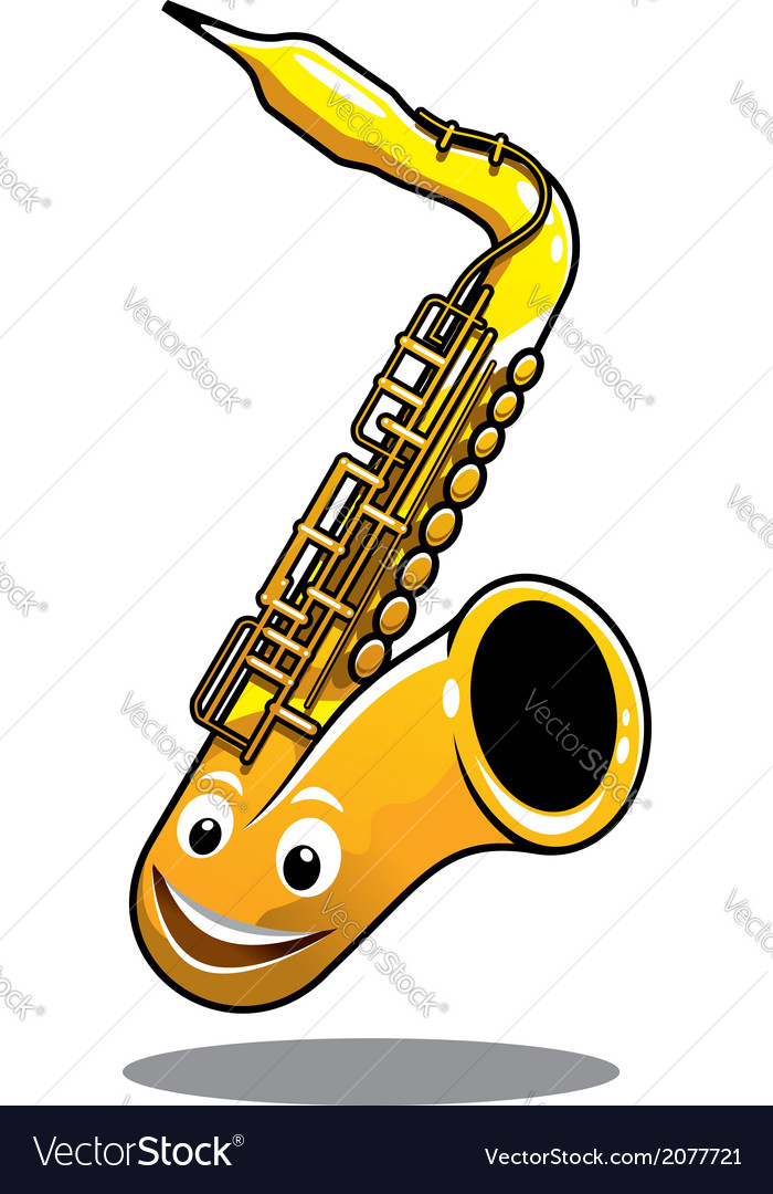 Funny happy brass saxophone vector | Price: 1 Credit (USD $1)