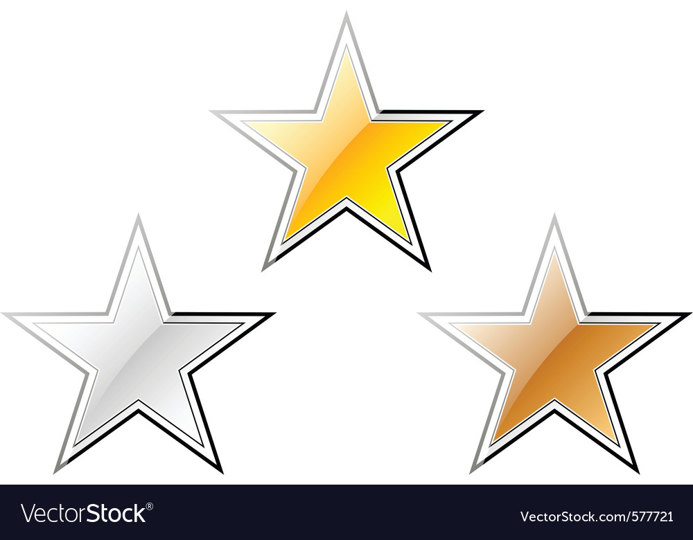 Gold silver and bronze stars vector | Price: 1 Credit (USD $1)