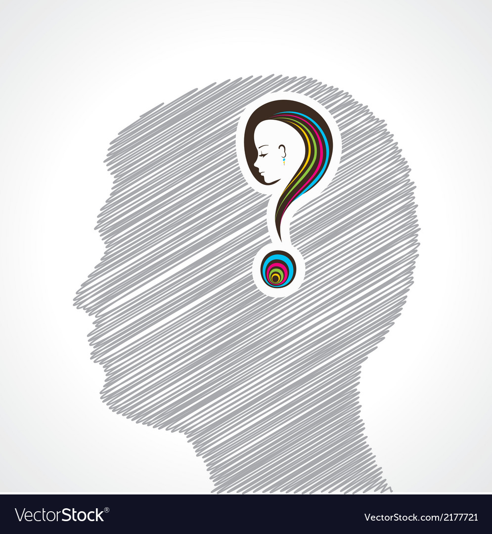 Hand drawn mans face with question mark vector   Price: 1 Credit (USD $1)