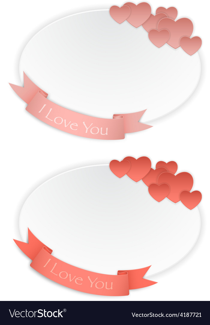 Love card with hearts and ribbon vector | Price: 3 Credit (USD $3)