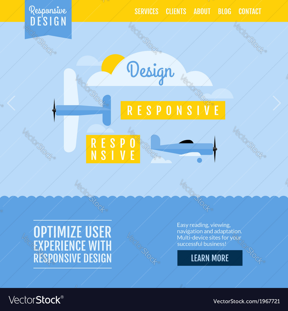 Modern flat website template with planes vector | Price: 1 Credit (USD $1)