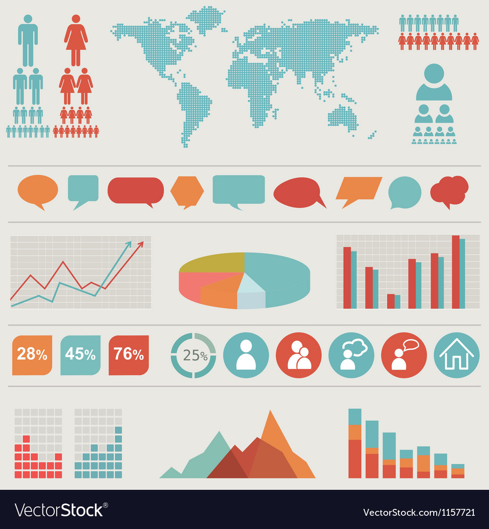 Retro infographics set vector | Price: 1 Credit (USD $1)