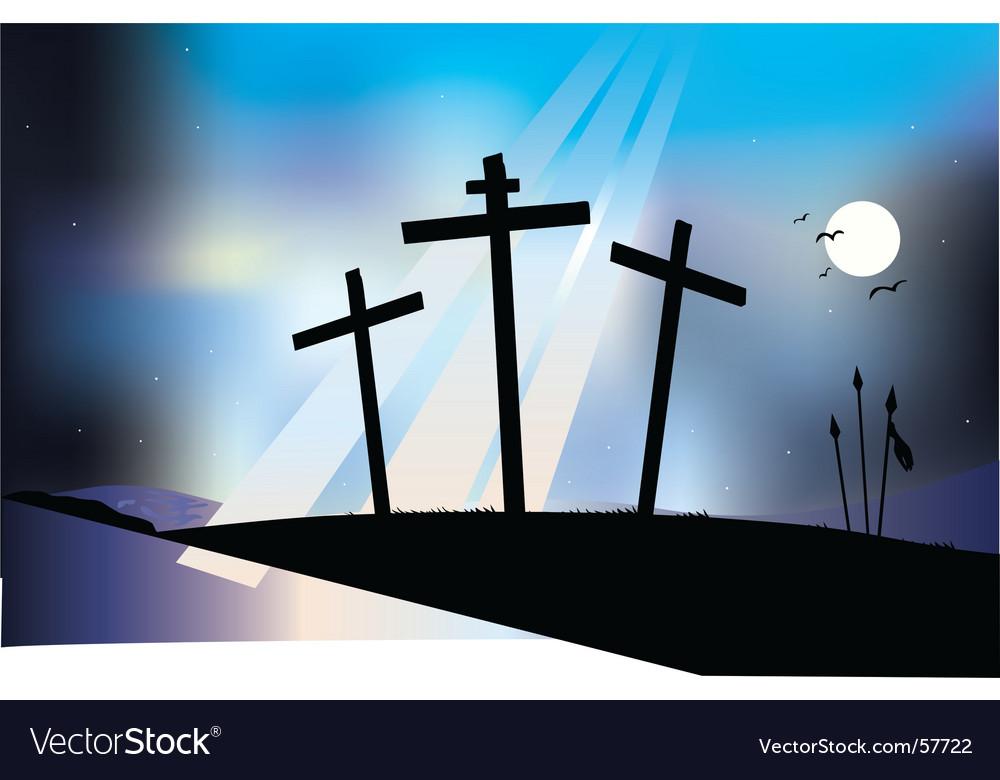 Crucifixion night scene vector | Price: 1 Credit (USD $1)