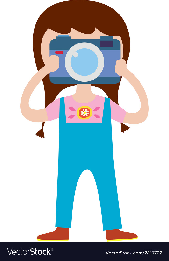 Cute girl photographer character vector | Price: 1 Credit (USD $1)