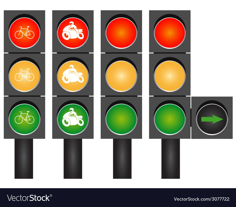 Four road traffic lights vector | Price: 1 Credit (USD $1)