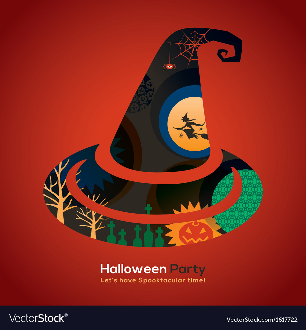 Halloween party witch hat vector | Price: 1 Credit (USD $1)