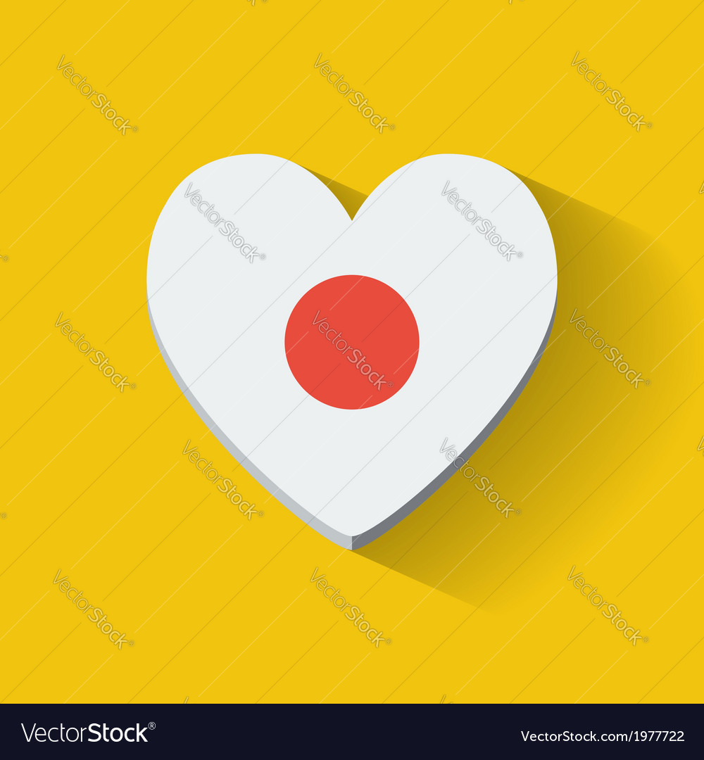 Heart-shaped icon with flag of japan vector | Price: 1 Credit (USD $1)