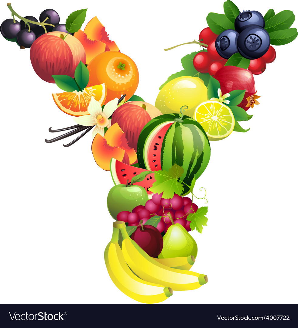 Letter y composed of different fruits with leaves vector | Price: 1 Credit (USD $1)