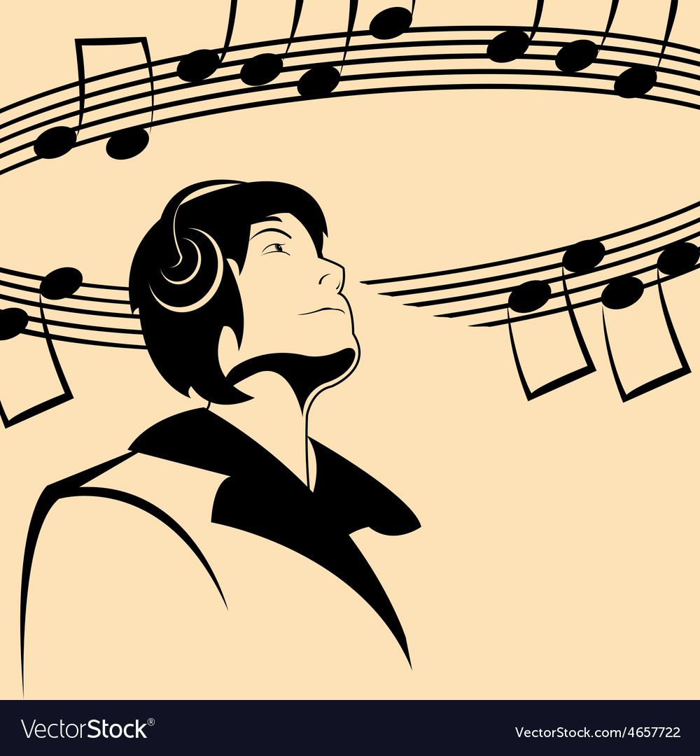 Man and music vector | Price: 1 Credit (USD $1)