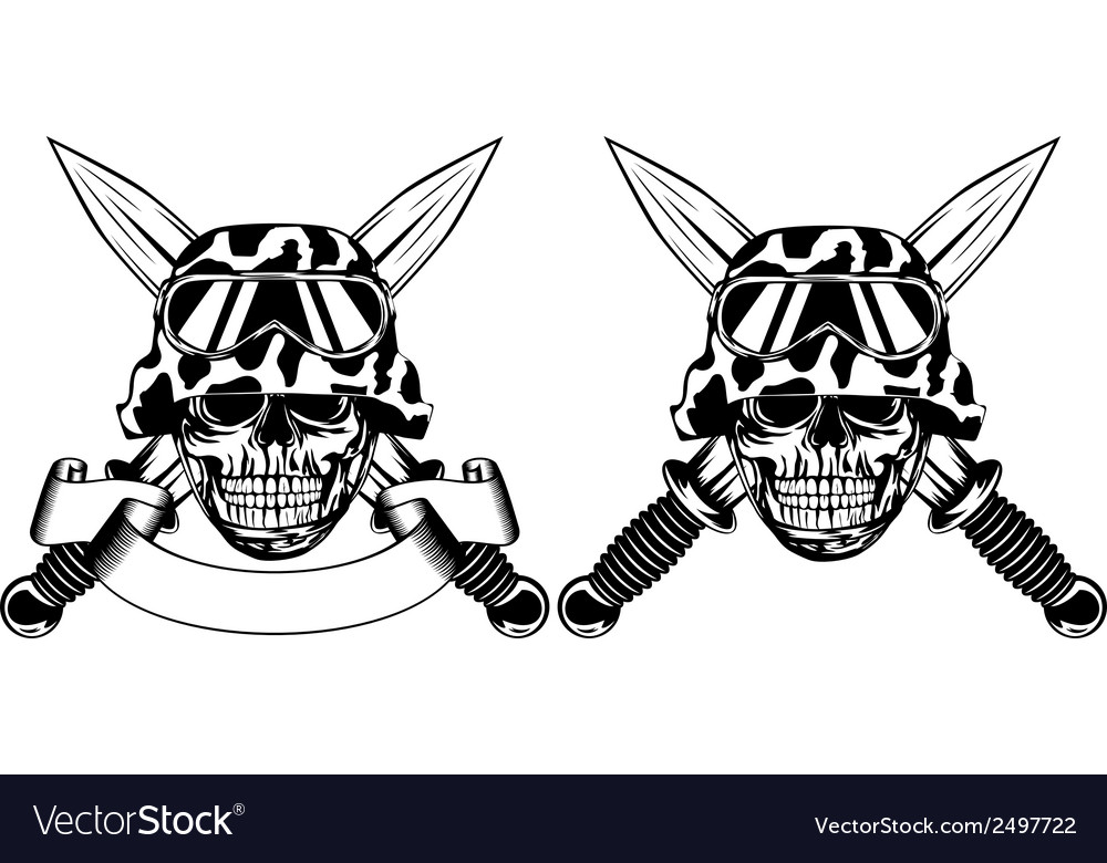 Skull in helmet and daggers vector | Price: 1 Credit (USD $1)