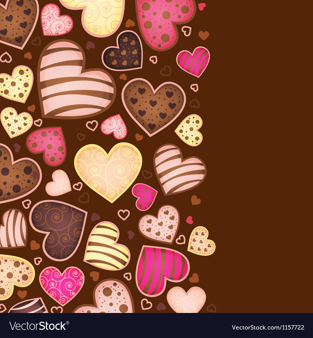 Vertical chocolate background for text with heart vector | Price: 1 Credit (USD $1)