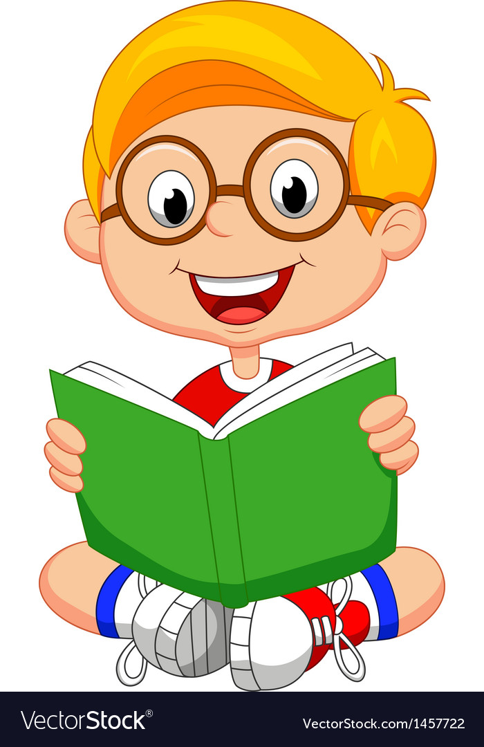 Young boy cartoon reading book vector | Price: 1 Credit (USD $1)