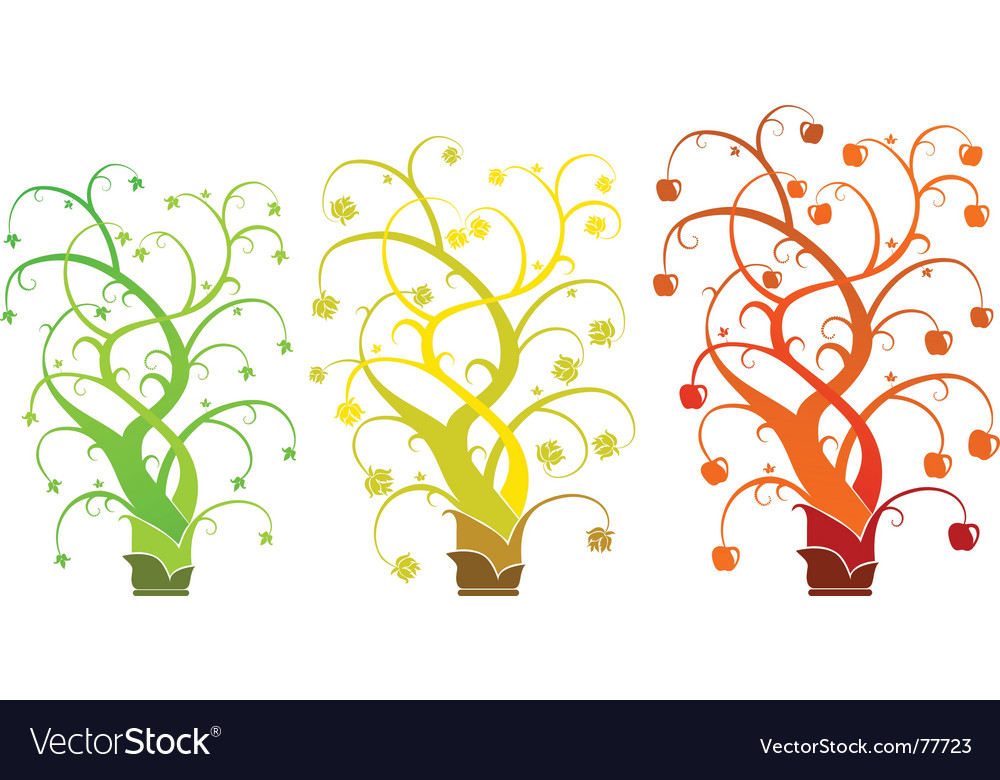 Abstract tree - set vector | Price: 1 Credit (USD $1)