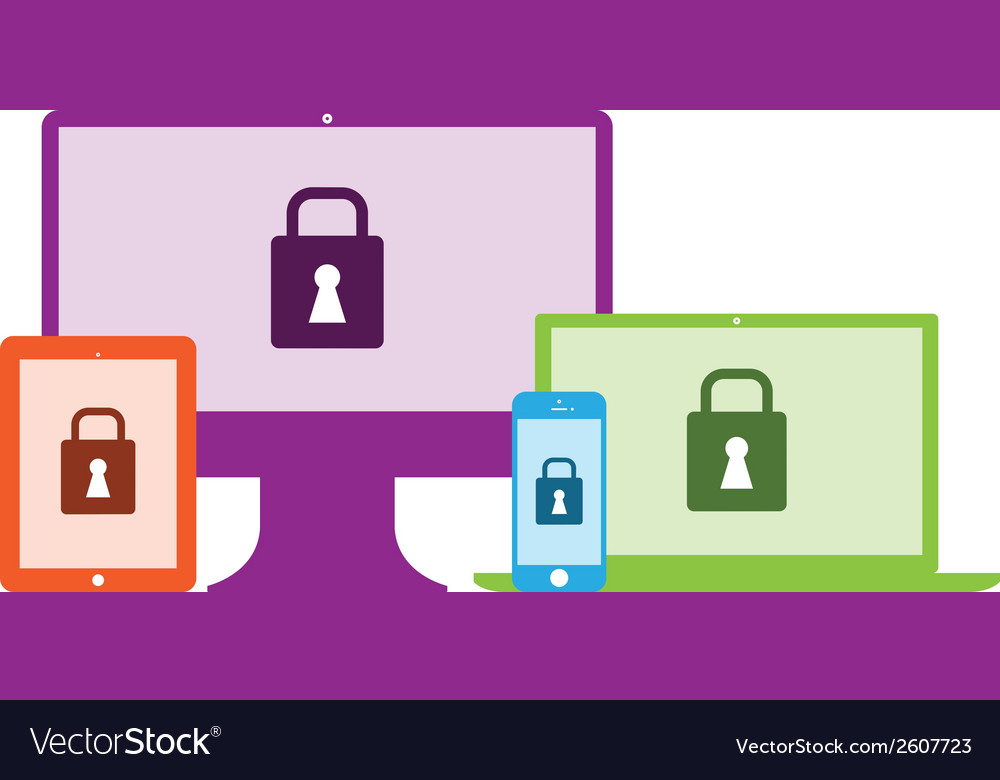 Computers locked vector | Price: 1 Credit (USD $1)