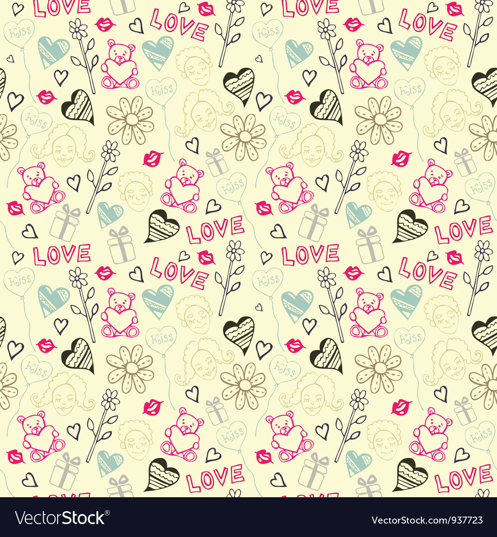 Love doodle pattern background vector | Price: 1 Credit (USD $1)