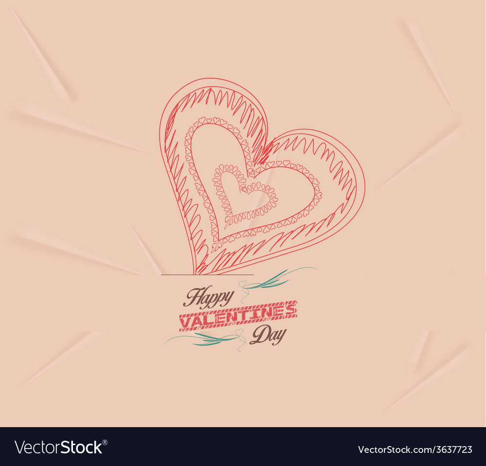 Retro heart for valentines day background vector | Price: 1 Credit (USD $1)