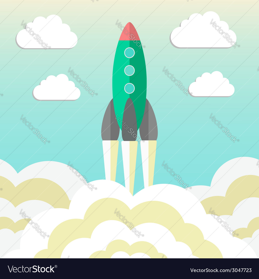 Rocket takes off and concept of startup business vector | Price: 1 Credit (USD $1)