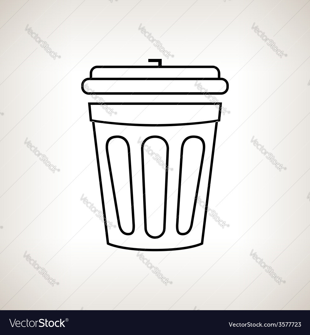 Silhouette dustbin on a light background vector | Price: 1 Credit (USD $1)