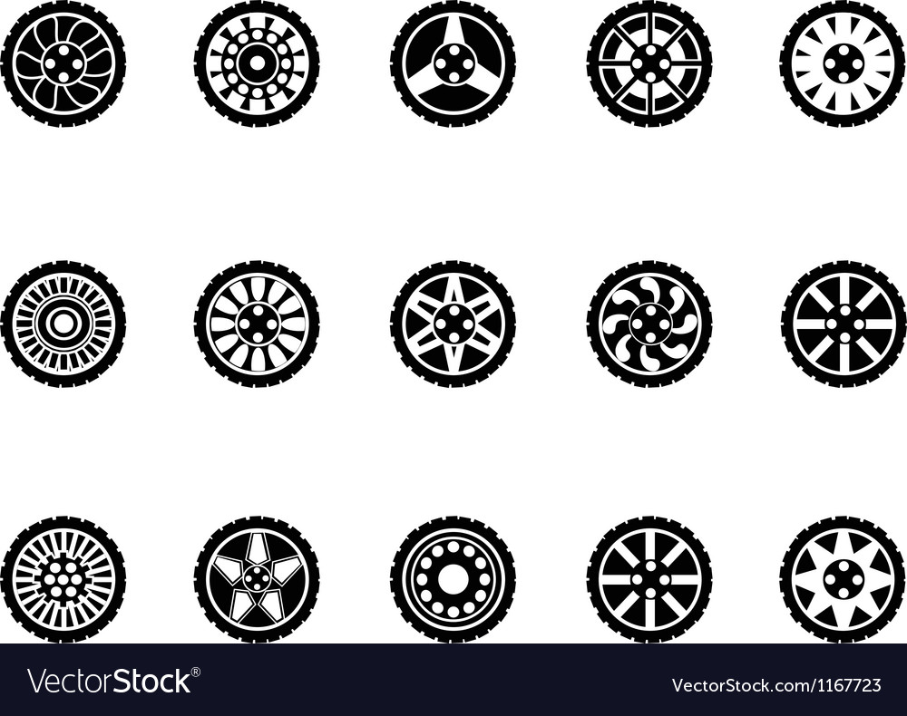 Tire icons set vector | Price: 1 Credit (USD $1)
