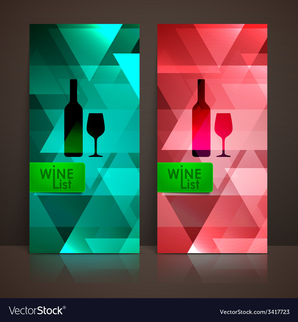 Wine list design with a bottle and a wineglass vector | Price: 1 Credit (USD $1)