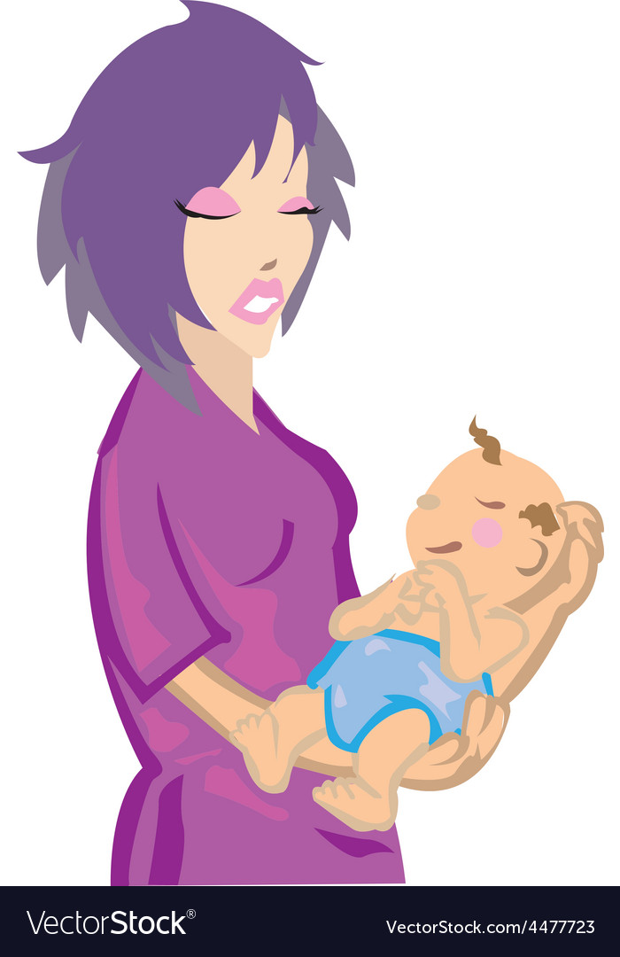 Woman with baby vector | Price: 1 Credit (USD $1)