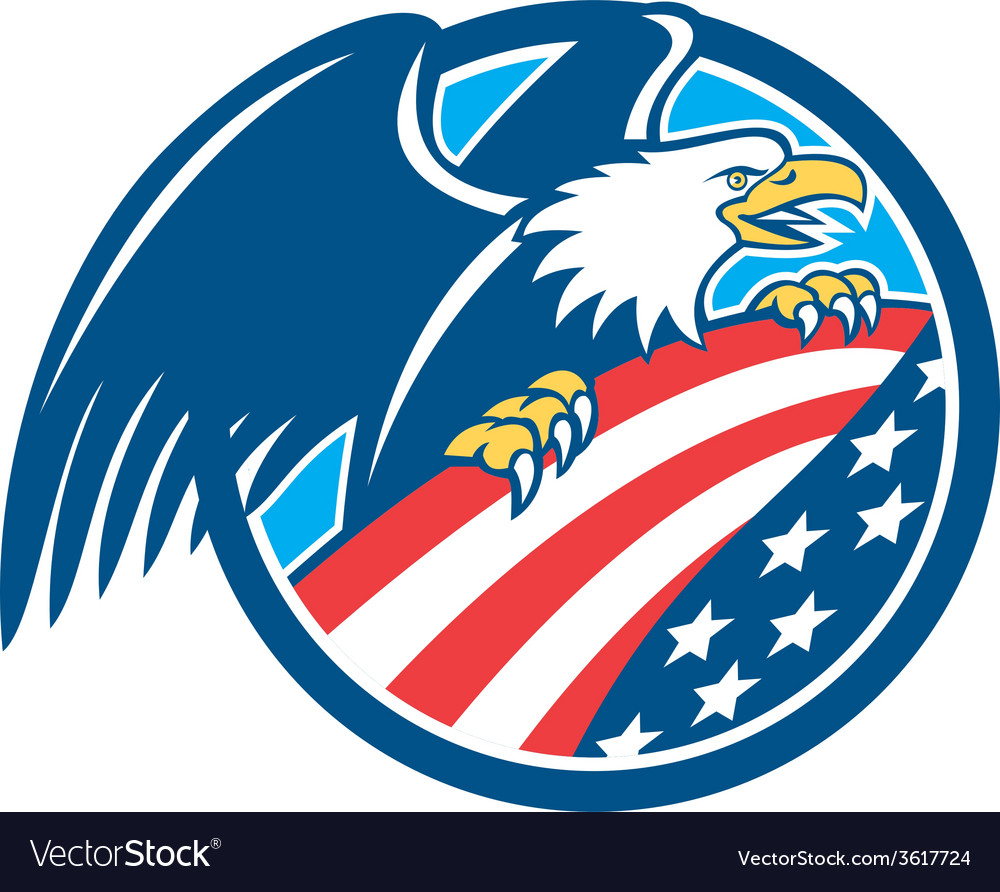 American bald eagle clutching usa flag circle vector | Price: 1 Credit (USD $1)
