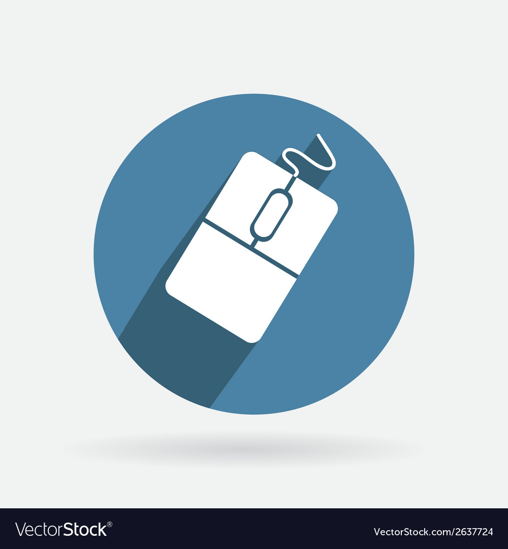 Circle blue icon with shadow computer mouse vector | Price: 1 Credit (USD $1)