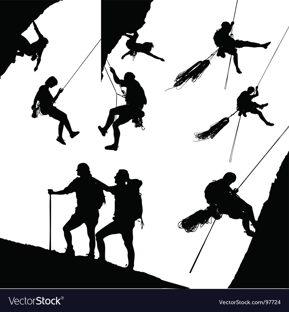 Climbing silhouettes vector | Price: 1 Credit (USD $1)