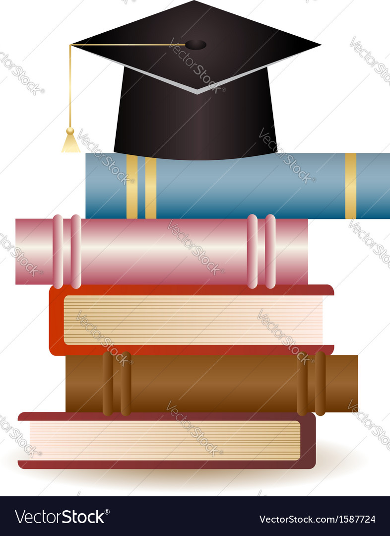 Graduation cap on book stack vector | Price: 1 Credit (USD $1)