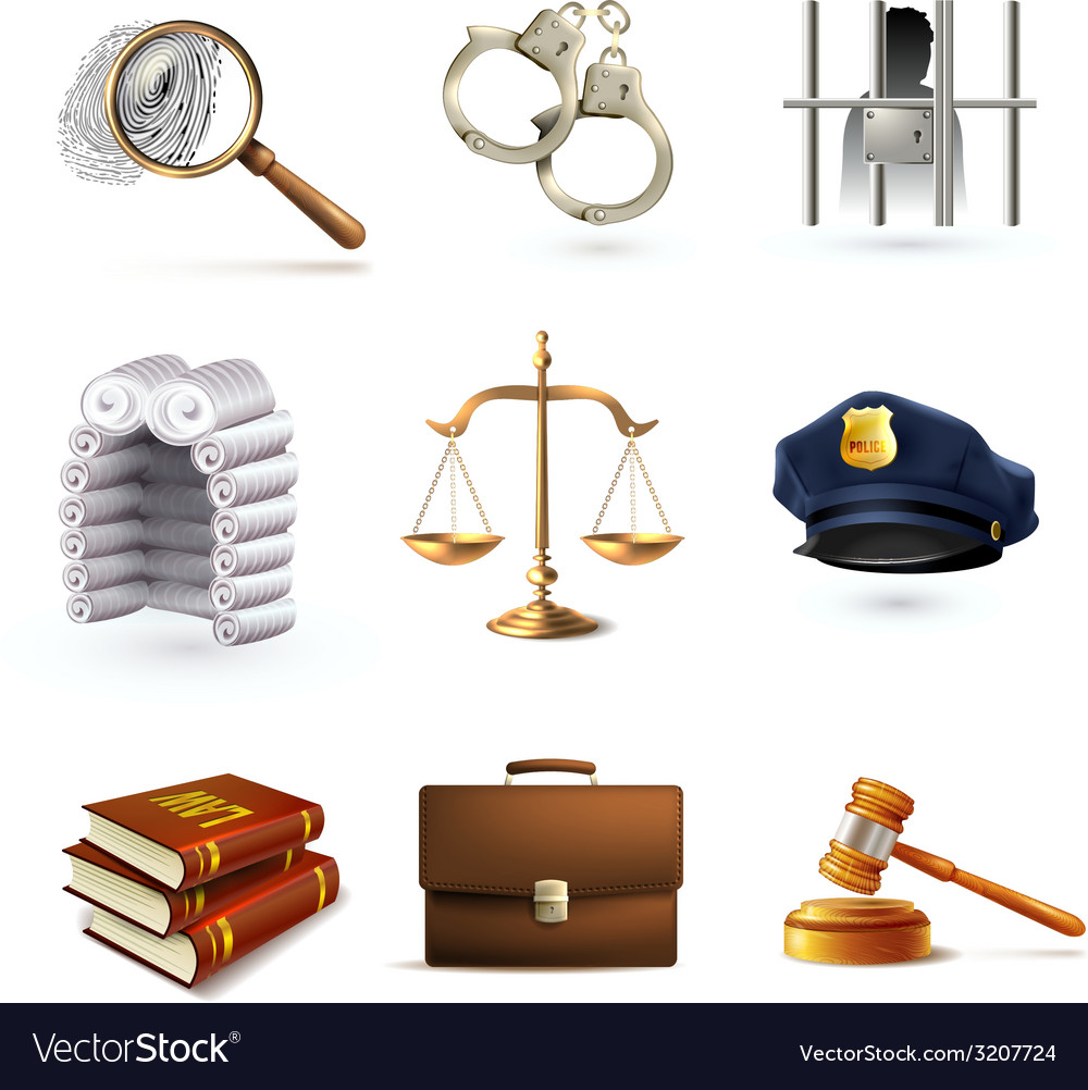 Law legal icons set vector | Price: 1 Credit (USD $1)