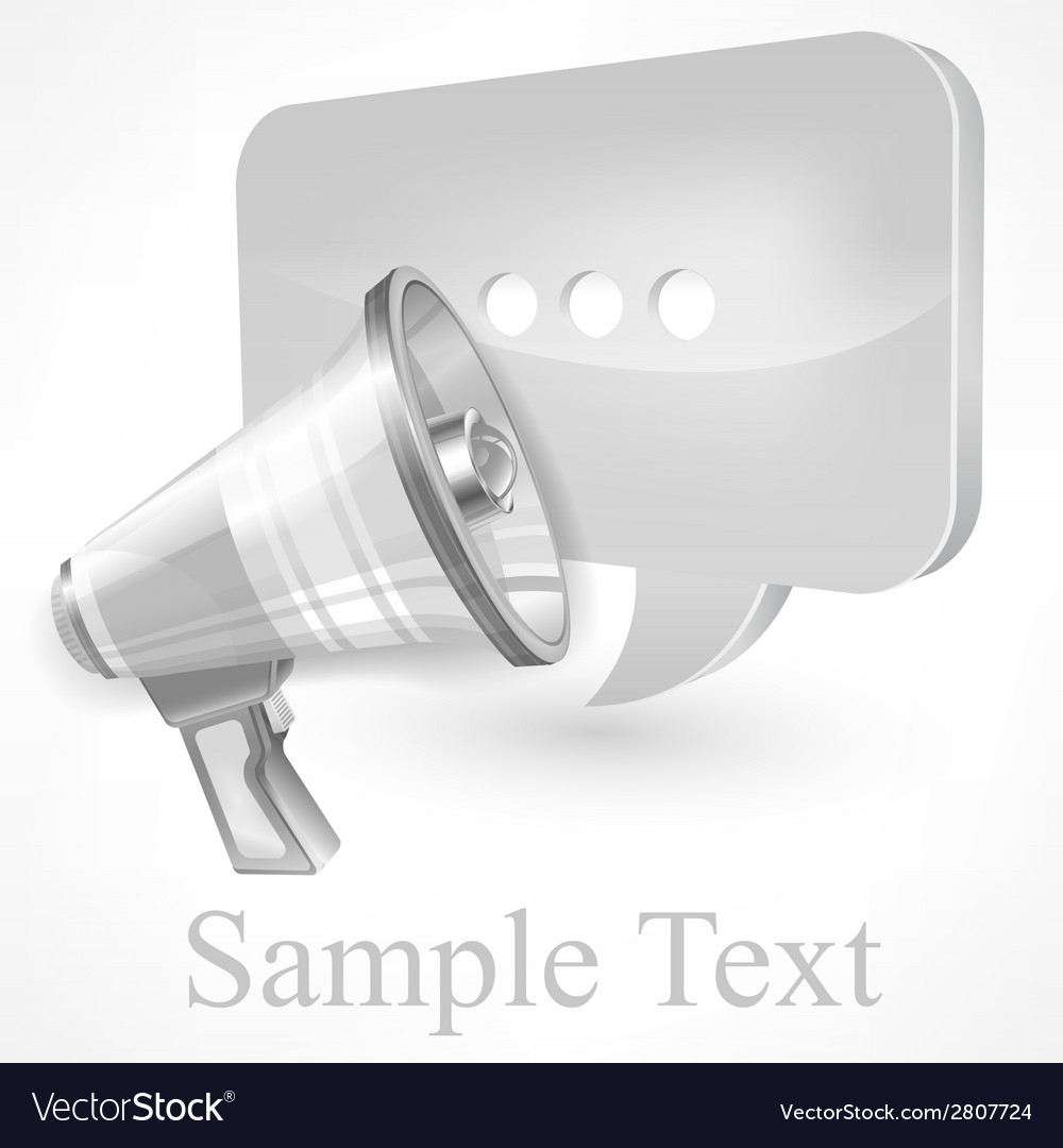 Megaphone white vector | Price: 1 Credit (USD $1)