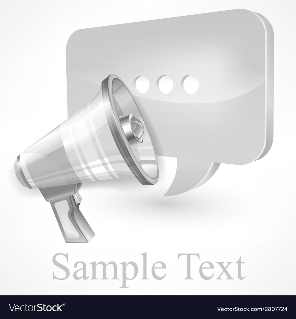 Megaphone white vector | Price: 1 Credit (USD $1)