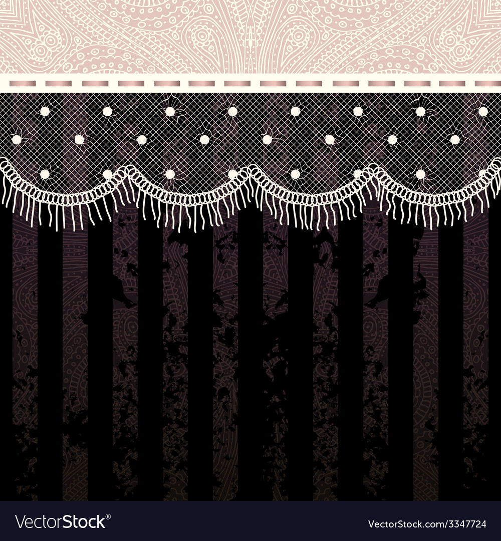 Polka dot fringe lace on black background vector | Price: 1 Credit (USD $1)