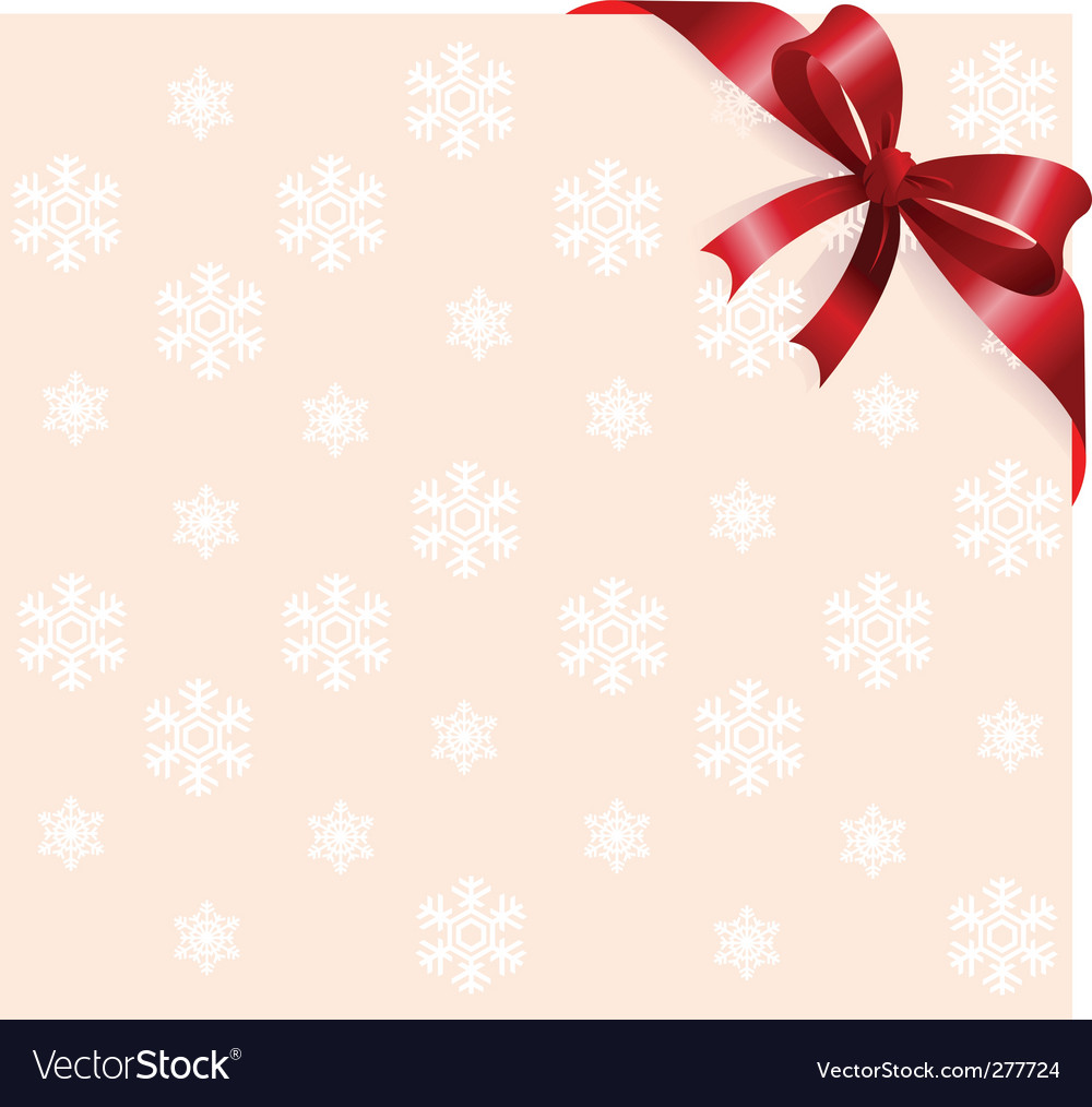 Red ribbon on snowflakes background vector | Price: 1 Credit (USD $1)