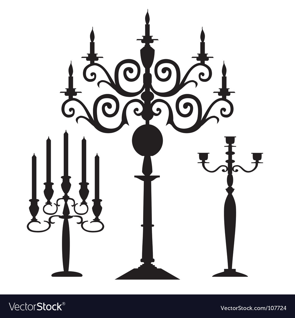 Set of candelabra silhouettes vector | Price: 1 Credit (USD $1)