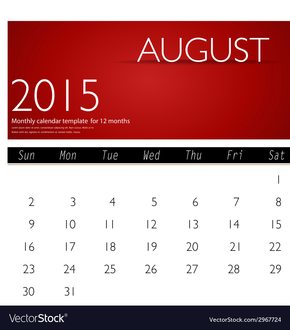 Simple 2015 calendar august vector | Price: 1 Credit (USD $1)