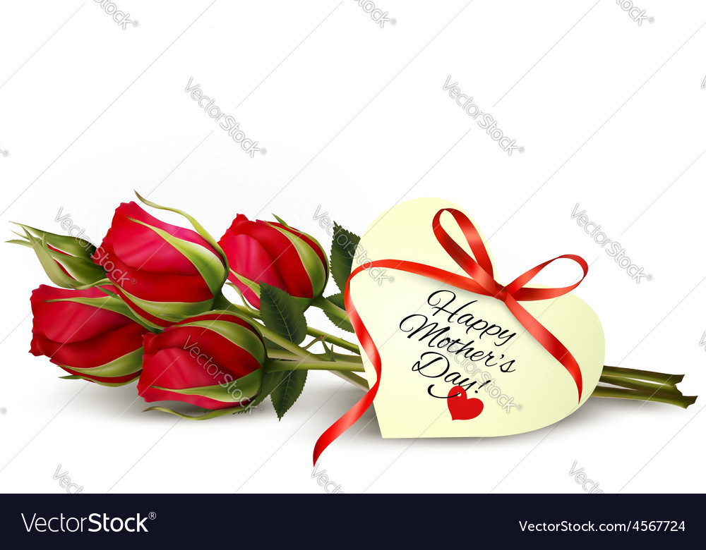 Three red roses with a heartshaped happy mothers vector
