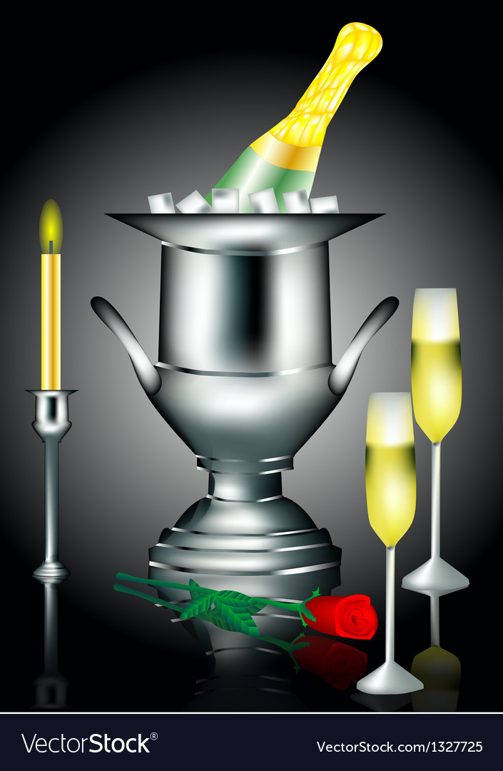 Champagne and rose vector | Price: 1 Credit (USD $1)
