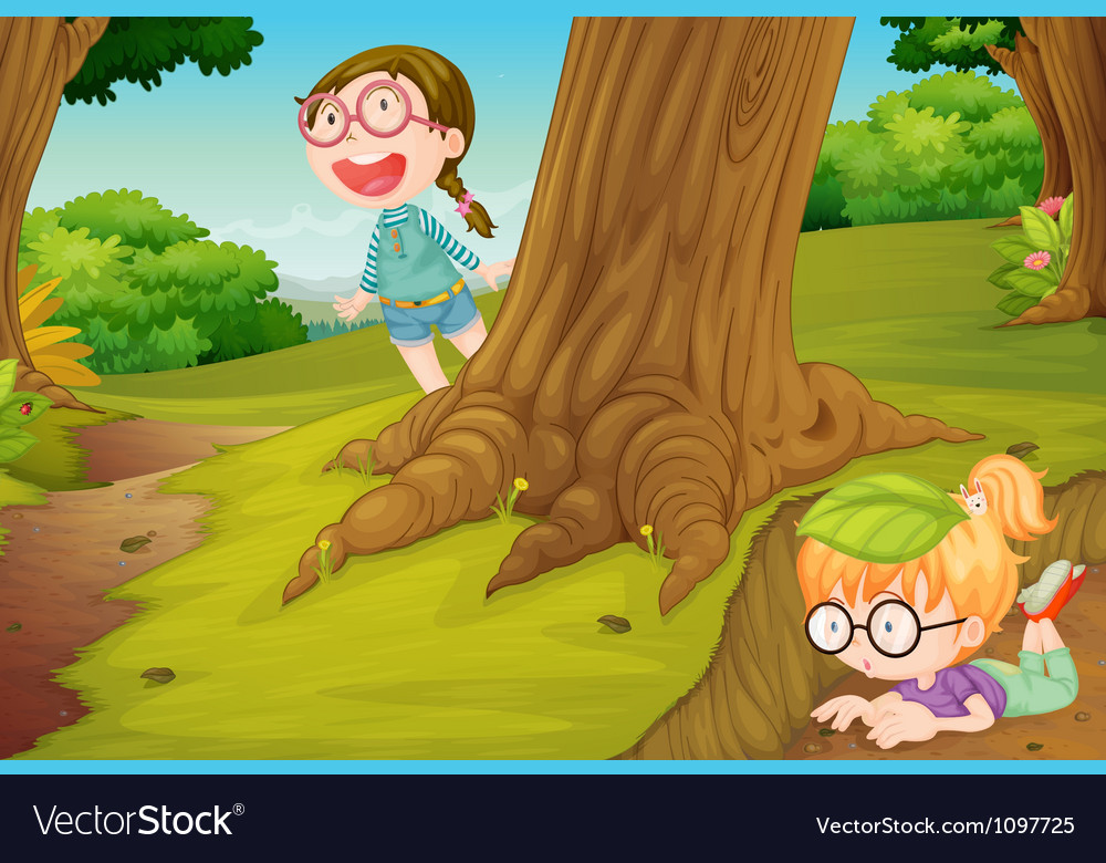 Girls playing in nature vector | Price: 3 Credit (USD $3)