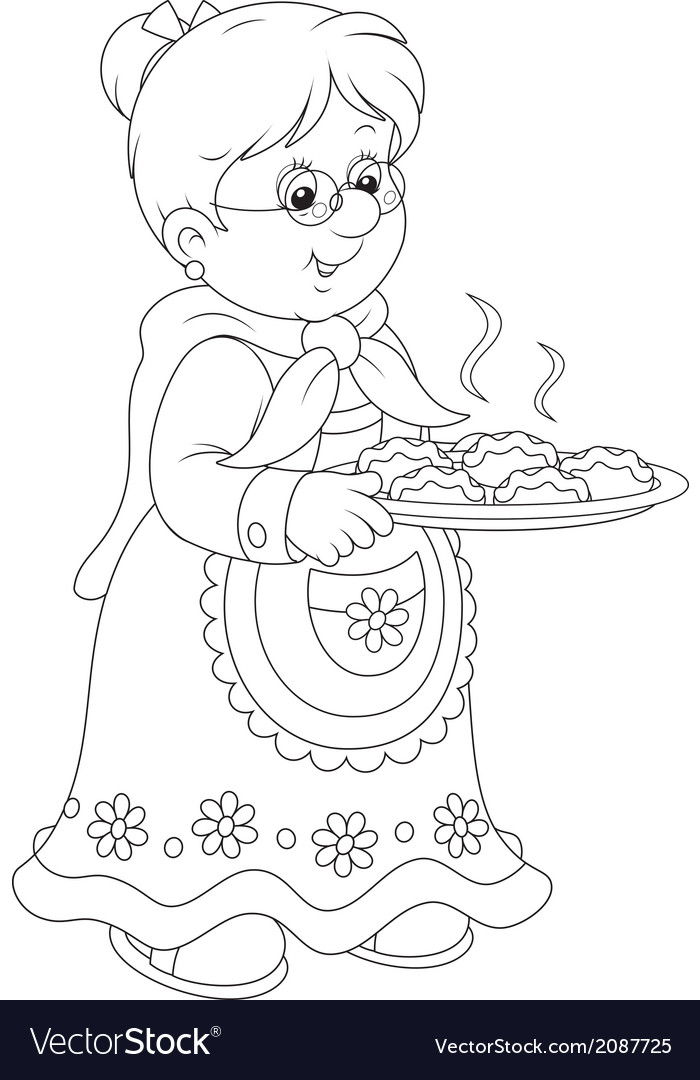 Granny with pies vector   Price: 1 Credit (USD $1)