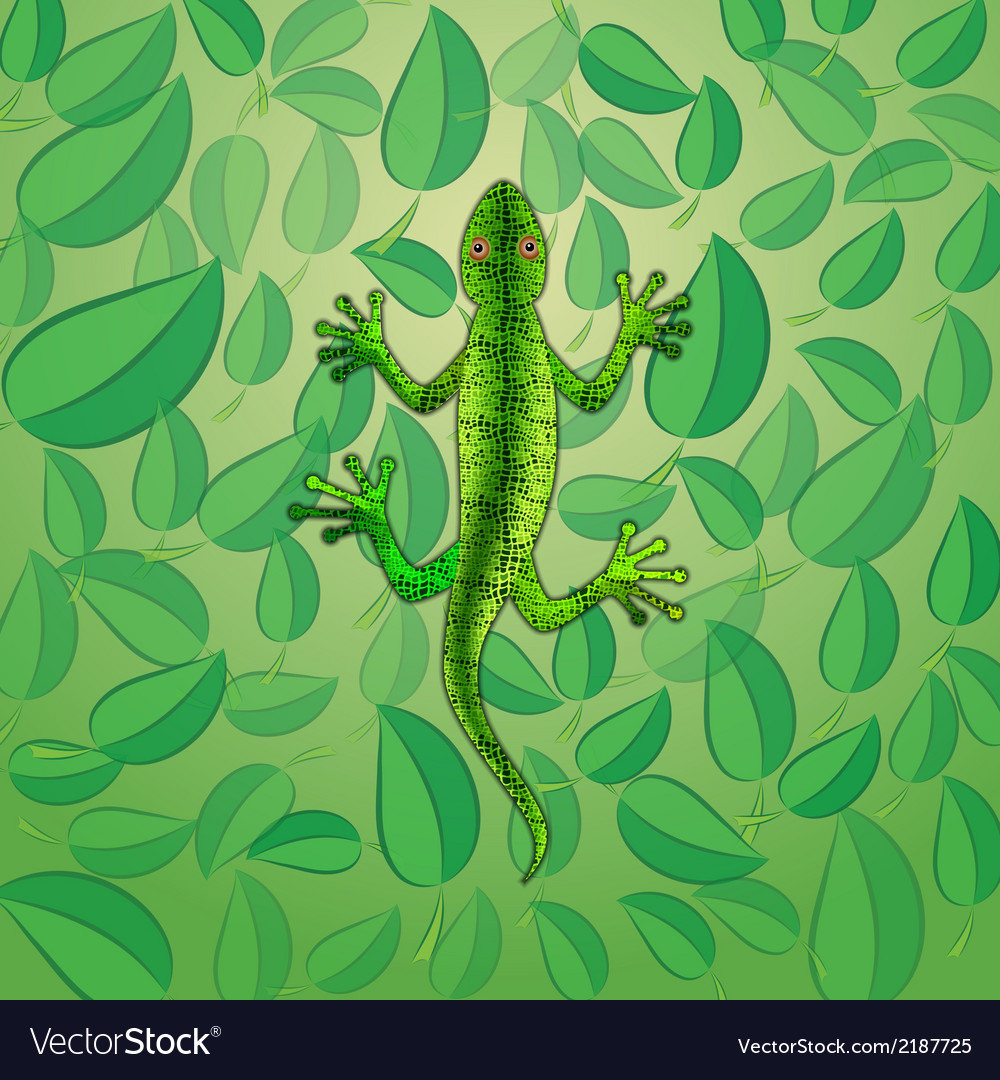 Green lizard among foliage vector | Price: 1 Credit (USD $1)