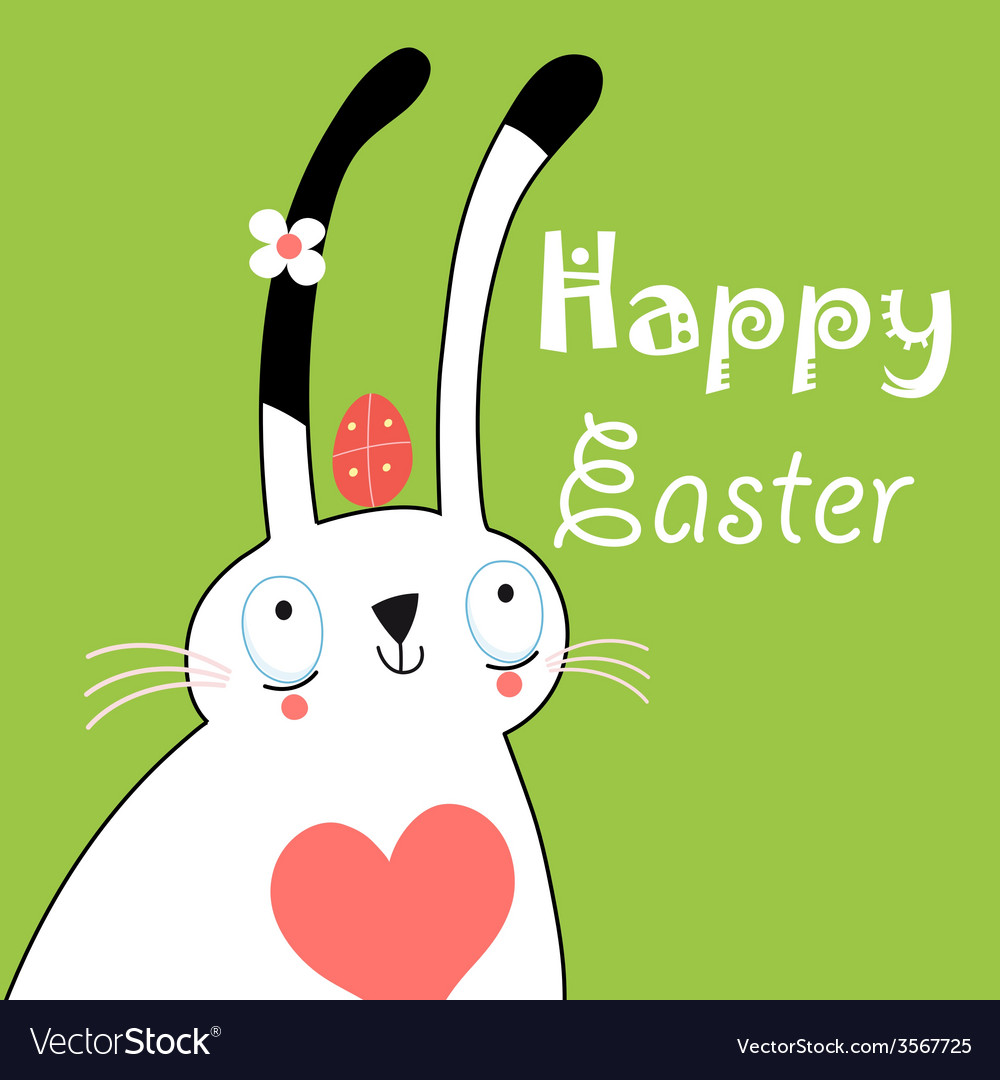 Greeting card with bunny for easter vector | Price: 1 Credit (USD $1)
