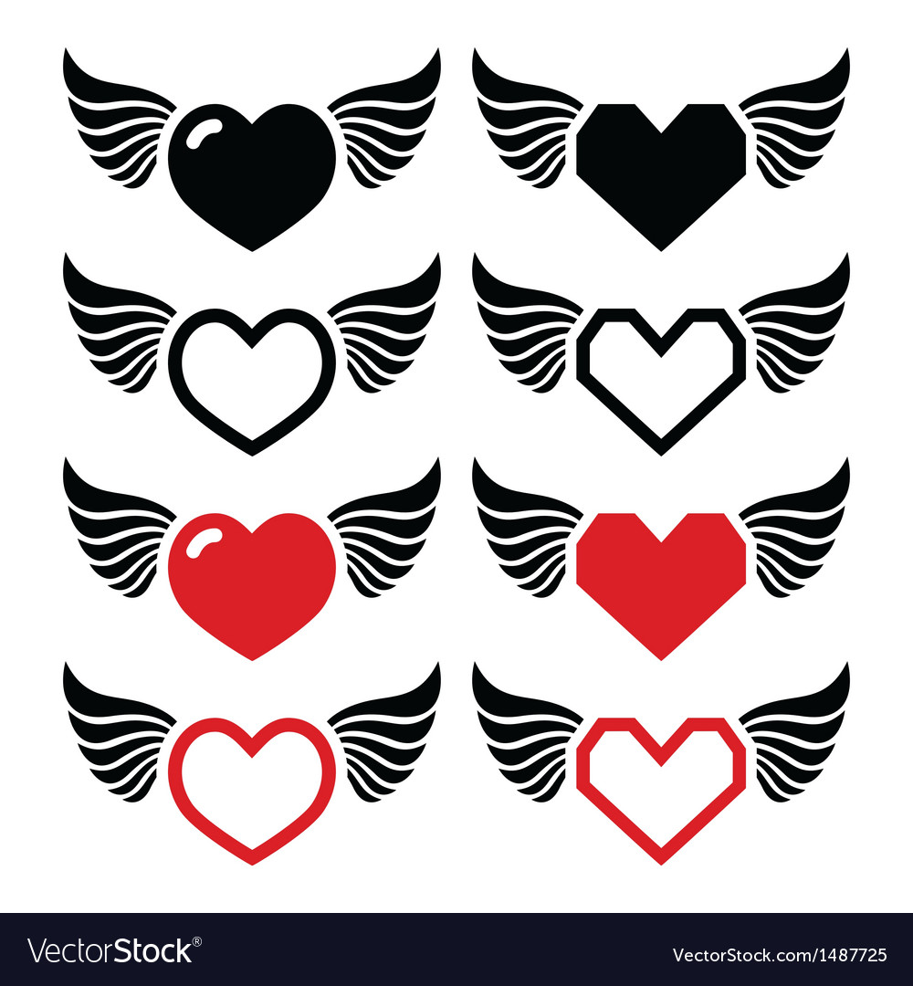 Heart with wings icons set vector | Price: 1 Credit (USD $1)