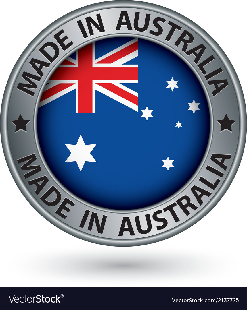 Made in australia silver label with flag vector | Price: 1 Credit (USD $1)